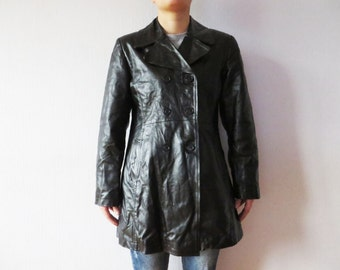Short Black Leather Coat Genuine Double Breasted Nappa Leather Military Style Women's Jacket Leather Fetish XL Large Size Made In Italy