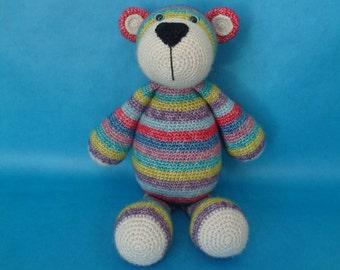 crochet bear, Bram beer, Stip en Haak, stuffed toy, teddy toy, cuddly toy bear, babyshower gift, new baby gift, baby boy, girl, teddybear