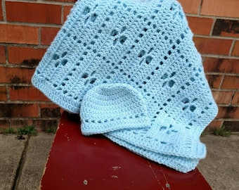 Call the Midwife Blanket and Hat Set, New Baby, Baby Blanket, Newborn Blanket, Stroller Blanket, Soft Blanket, Baby Shower Gift, Soft Blue