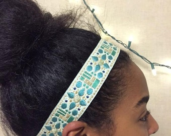 Embroidered Woven Headband - Blue