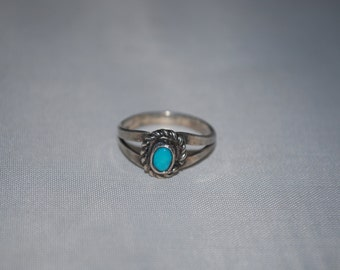 Sterling silver ring size 4.75 with turquoise setting.