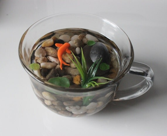 Miniature koi pond in glass mug fake koi pond koi for Artificial koi fish for ponds