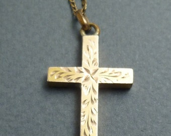 "Gold filled cross and 19"" GF chain"