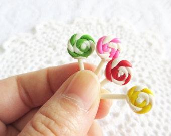 Four Lollipops Miniature in Glass Flask, Colorful Lollipop Miniature