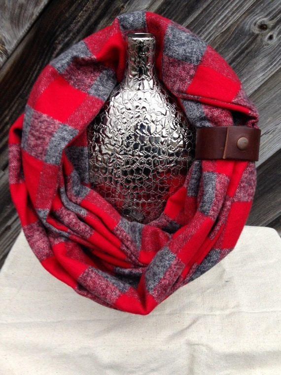 Red and Gray Buffalo Plaid Check flannel eternity scarf with a brown leather cuff - soft, trendy