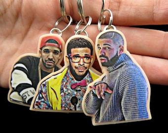 Drake keychains - drake hotline bling - 1- 800 hotline bling - nerdy drake keychains - drake jewelry - celebrity jewelry - celebrity faces