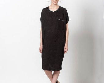 SALE 25% OFF Day Dress, Black Dress White Collar, Loose Dress, Tunic Dress, Oversized Dress, Short Black Dress