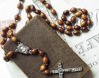 Vintage Silver Tone Jerusalem Olive Wood Beads Jordan River Holy Water Rosary