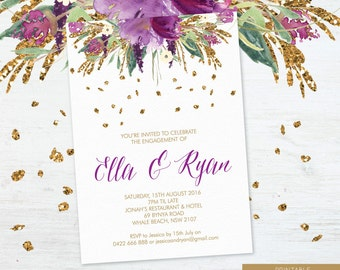 Printable Engagement Party Invitation, Engagement Party Invite, Engagement Dinner, DIY Printable, Watercolour Sparkling Violet