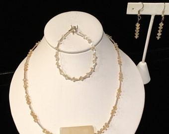 Cream Quartz and Swarovski Crystal Necklace, Earring, & Bracelet Set
