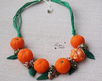 Tangerine Jewelry Necklace Mandarin Polymer Clay