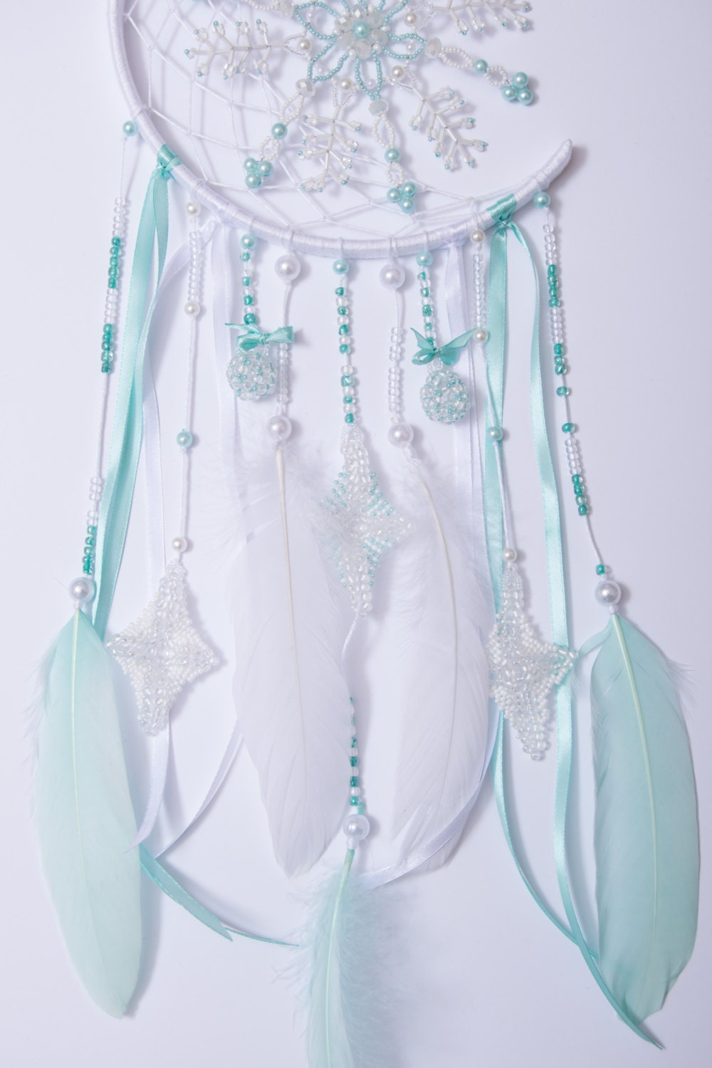 Crescent Dream Catcher Christmas White Mint By
