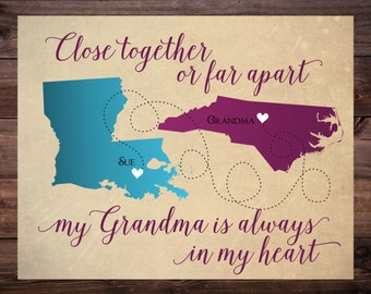 Gift for Grandma, Grandma Long Distance Map, Personalized Grandma Gift, Christmas Gift for Grandma, Long Distance Map for Grandma