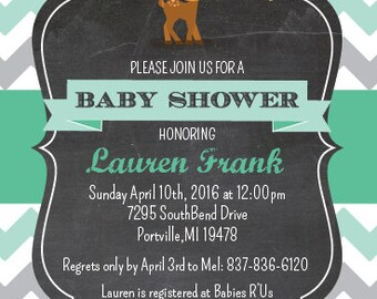 Fawn Baby Shower Invite, Deer Baby Shower Invitation
