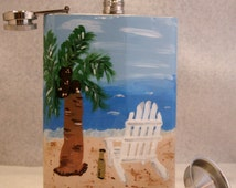 """Steel Flask, Hand Painted,FREE SHIPPING, 8 oz stainless steel hip flask,  Beach """"Its 5 o'clock Somewhere"""""""