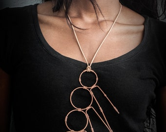 Curious Art Deco Necklace, Handmade Copper Wire Wrapped and Leather Thong Pendant, Vintage Inspired Statement Necklace