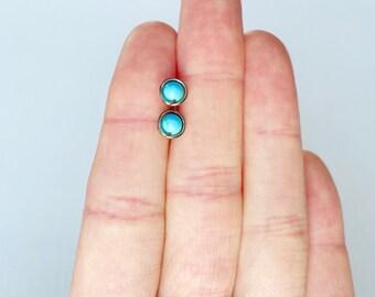 Small stud earrings, Niobium stud earrings, Turquoise stud earrings, Dainty earring studs, Minimal earring studs, Tiny stud earrings