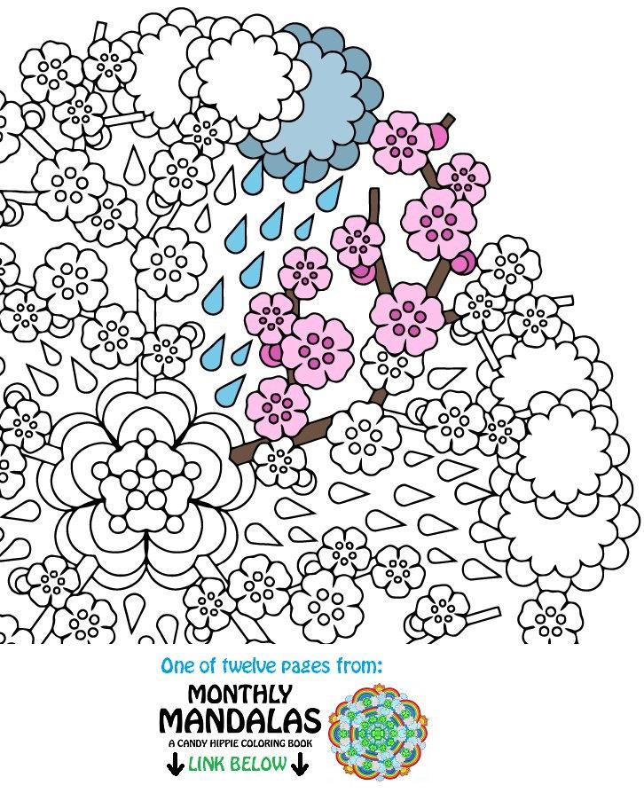 mandala coloring page april showers printable spring. Black Bedroom Furniture Sets. Home Design Ideas