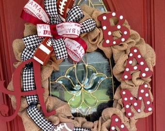Alabama wreath. Roll tide wreath. Bama wreath. Alabama football decor. Football wreath. Alabama elephant wreath.