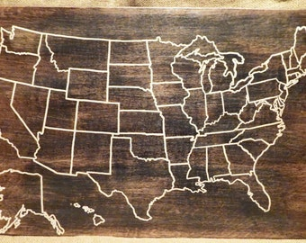 Us Map Etsy - Us travel map on cork board
