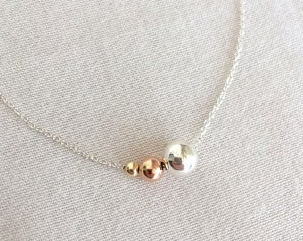 Mother of the Bride Gift, Mother's Necklace, Grandma's Necklace, Generations Necklace, Sterling Silver Bead, Rose Gold Bead, Gold Fill Bead