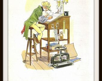 H.M.S. Pinafore Gilbert + Sullivan Book Print #10 (1946): Frameable Wall Art, Sir Joseph Porter Office Clerk, Musical Comedy Picture, Image