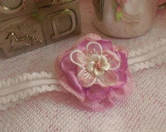 Pink/Mauve - Picot Lace Elastic Headband - Baby Girls - 0-3 months