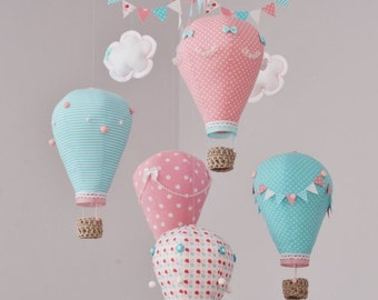 Hot air balloon baby mobile,Coral,Turquoise,White  Nursery decor Travel theme,Custom mobile,Create mobile in your color