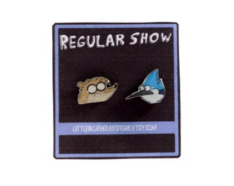 Regular Show - Mordecai & Rigby Earrings  | Silver Earrings | Stud Earrings | Gift Idea | Andy Warhol Earrings | Surgical Steel Earrings