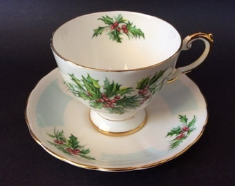 VintageTea Cup with Saucer/ Tuscan Fine English Bone China/ Pattern Birthday Flowers/ Made in England/ Holly Plant Tea Cup with Saucer/