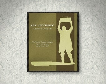 Say Anything Minimalist Movie Poster Print, Cameron Crowe Movie, Print Art Poster, Home Decor