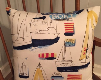 "Nautical Ships Throw Pillow Cover Only (18"" x 18"")"
