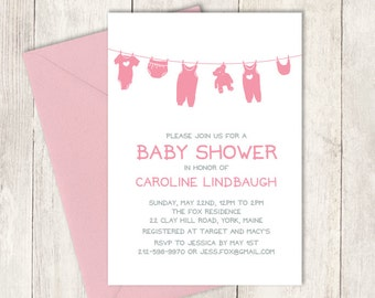 Pink Baby Shower Invitation DIY / It's a Girl Baby Shower / Pink Clothes, Clothesline, Onesie / Pink and Gray ▷ Baby Shower Invite Printable