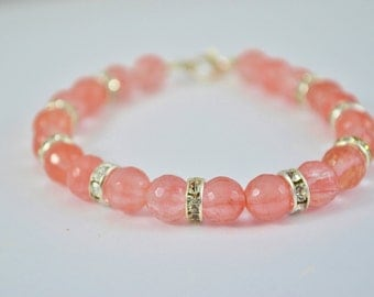 FREE SHIPPING, Coral pink bracelet, coral bracelet, cherry quartz bracelet, pink quartz bracelet, salmon pink bracelet, coral jewelry