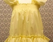 ALL Sizes 25 GBP Adult Baby Sissy Short Dress  Top in lemon pale yellow frilly sissy boi cosplay