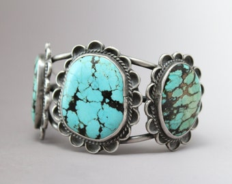 Vintage Native American Stormy Mountain Turquoise Old Pawn Navajo Cuff Bracelet