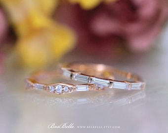 1.11 ct.tw Baguette Stacking Band Set-Baguette & Brilliant Cut Diamond Simulant-Stackable Ring-Rose Gold Plated-sterling Silver [61631RG-2]