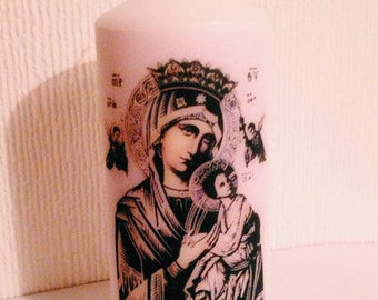 Virgin Mary White Religious Candle