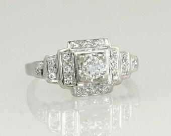 Antique Vintage Estate Art Deco .75ct Genuine Diamond 14K White Gold Engagement Ring 2g