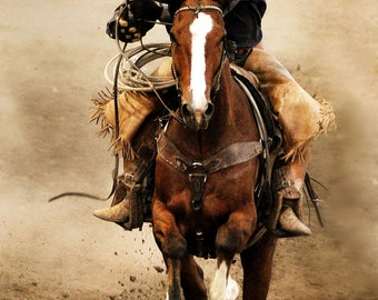 "Cowboy Riding Horse Rodeo Photographic Print, ""Pick Me Up"""