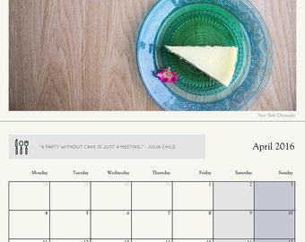 2016 Kitchen wall calendar Food calendar Big wall planner Photography Decor Food photography Kitchen calendar Home Decor Art