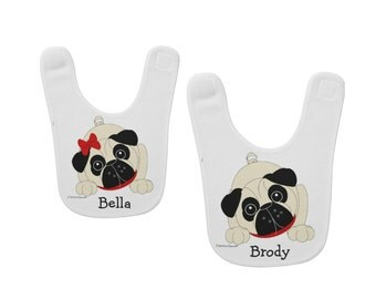 Pug Puppies Baby Bibs - Girls & Boys -Personalized - Ultra Soft
