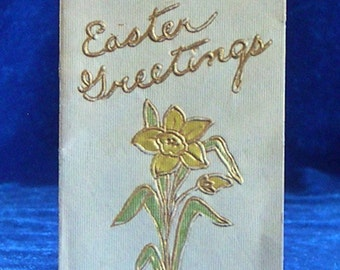 Tiny Easter Greetings Card Gold Lily Lovely Poem Inside!