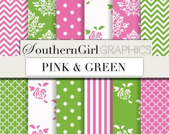"Pink and Green digital paper: ""PINK AND GREEN"" with pink, green, roses, chevron, stripe chic preppy patterns for scrapbooking, crafts"