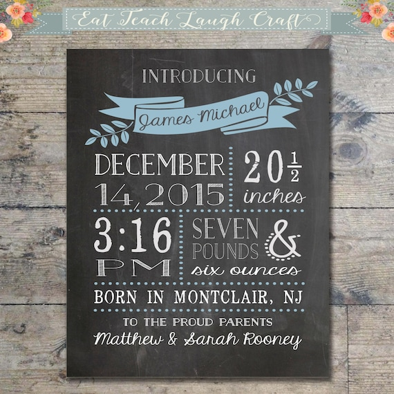 Chalkboard birth announcement new baby boy baby birth stats like this item negle Images