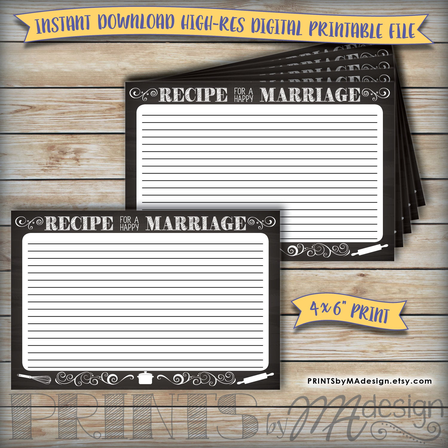 This is a photo of Terrible Recipe for a Happy Marriage Printable
