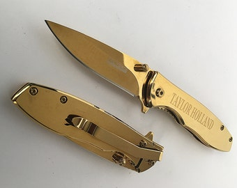 Groomsman Engraved Gold pocket Knife - Custom engraved Tac force Knife - Custom Engraved Knife -Best Man gift - Personalized knife