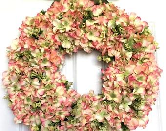 Pink and Green Hydrangea Wreath | Front Door Wreath | Spring Summer Wreath | Baby Shower | Wedding Decor | Bright Wreath