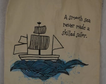 tote bag with a sailing ship