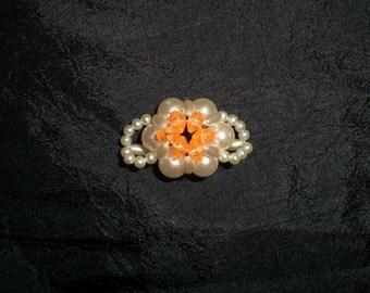 Vintage 60's Acrylic Faux Pearl Beaded Orange Stretch Ladies Fashion Ring